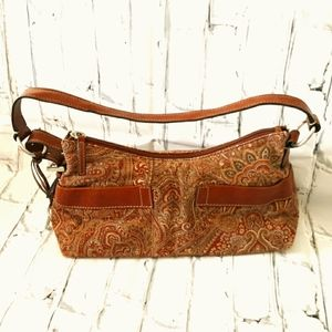 FOSSIL 1954 PAISLEY TAPESTRY/LEATHER SHOULDER BAG